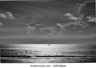 Fishing boat on calm ocean