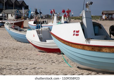 Fishing boat on the famous Vorupor village, Jutland. Danish fishing boat on the beach