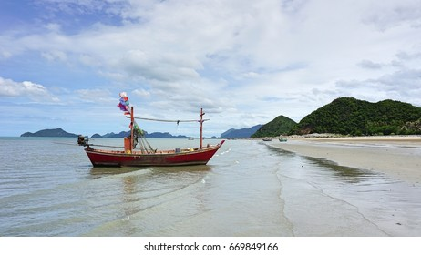 Fishing boat on the pranburi beach,Prachuap khiri khan,Thailand