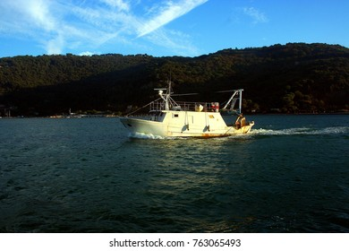 Fishing boat on the sea between Portovenere and Palmaria island