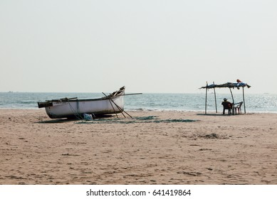 fishing boat on the sea shore. tropical landscape.