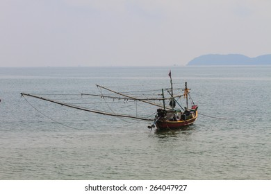 Fishing boat on the sea in summer