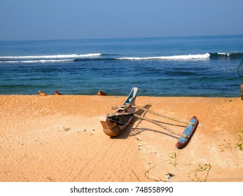 fishing boat on the shore of Sri Lanka