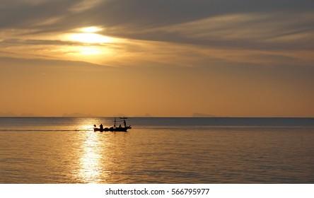 Fishing boat on sunset. Thailand.