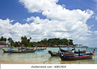 the fishing boat on Thai sea , at Puket Thailand ,