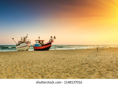 Fishing boat parked on the beach
