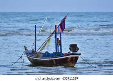 Fishing boat parked in the sea.