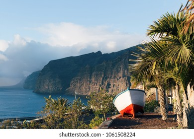 Fishing boat in the parking. Tenerife west coast. Ocean and beautiful landscape