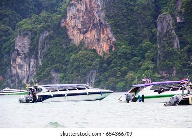 Fishing boat in Phi Phi island , Thailand.