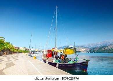 Fishing boat in the port of Argostoli, Kefalonia, Greece