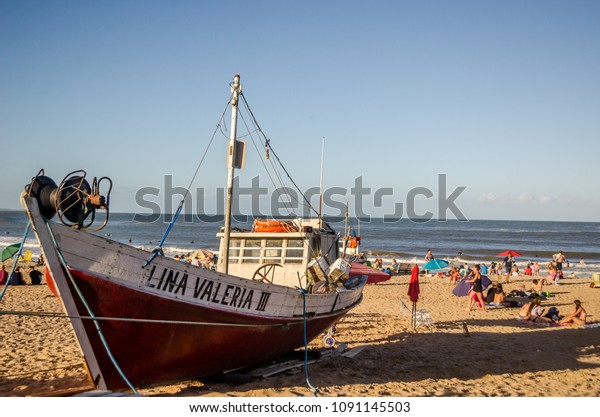 Fishing boat in Punta del Diablo, Rocha, Uruguay. February 2018.