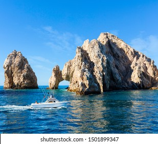 Fishing boat returns from a day out on the water in Los Cabos, Mexico