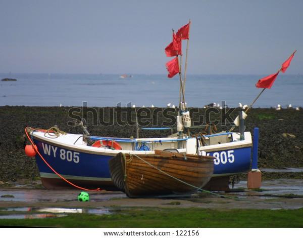 Fishing boat at Robin Hood Bay, Yorkshire, UK.