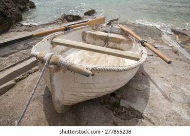 Fishing Boat at San Vicente Beach, Ibiza; Balearic Islands; Spain