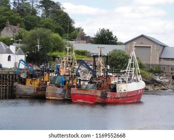 Fishing boat ship at Oban Harbor. Great Britain UK, 12th June 2012
