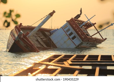 Fishing boat sinking in a sea of Thailand