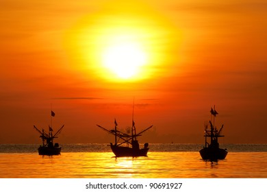 Fishing boat sunrise