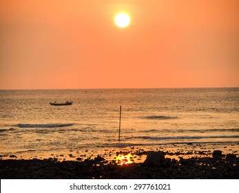 fishing boat in sunset