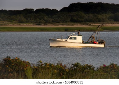 Fishing Boat at Sunset - Cape Cod - New England