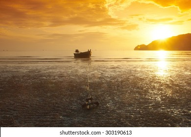 fishing boat with the sunset in Thailand