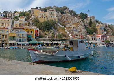 Fishing boat in Symi harbour, Greece