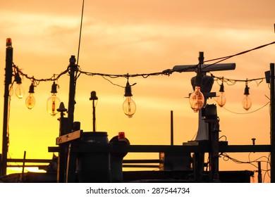 fishing boat under sunset