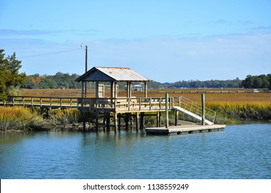 fishing, boating dock along a creek