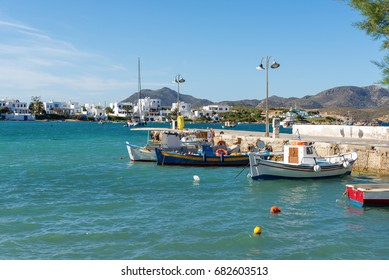 Fishing boats anchoring in Pollonia port on Milos Island. Greece.