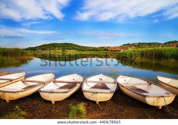 Fishing boats ashore on Inner lake in Tihany Hungary