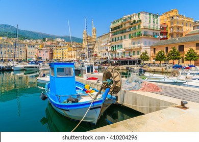 Fishing boats in Bastia port on sunny summer day, Corsica island, France