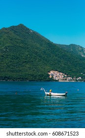 Fishing boats in the Bay of Kotor in Montenegro.