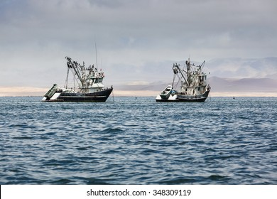 fishing boats in the bay of the Pacific Ocean