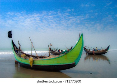 Fishing boats at the beach in Cox Bazar. Bangladesh 2007. Cox Bazar has the longest beach in the world.
