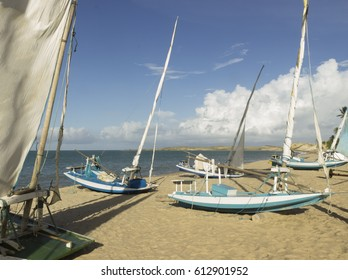 Fishing boats - beach, Natal, Brazil
