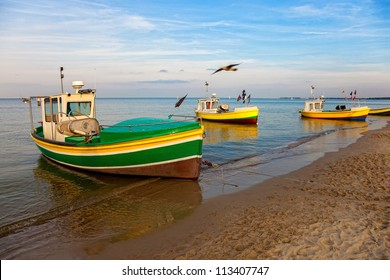 Fishing boats at the beach in Sopot, Poland.