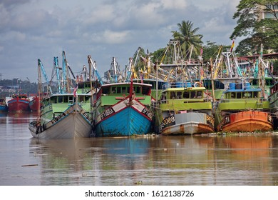 Fishing boats in Borneo with many colours