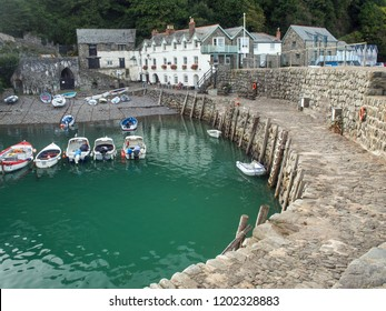 Fishing boats at Clovelly quayside in North Devon , England