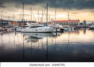 Fishing Boats docked at Hobart Harbor in the morning, Hobart, Tasmania, Australia