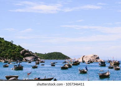 Fishing boats docked on the main island of Cu Lao Cham Marine Park (also known as Cham Islands Biosphere Reserve) near Hoi An, Vietnam