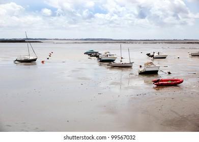 fishing boats during low tide, France, La Rochelle