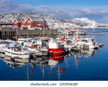 Fishing boats during the winter in Bodo harbor, Norway