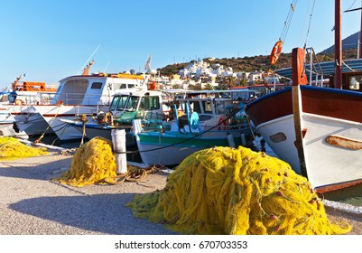 Fishing boats at the embankment in Elounda, Crete, Greece