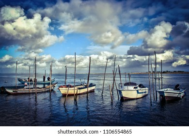 Fishing boats in the estuary of Aveiro, Portugal