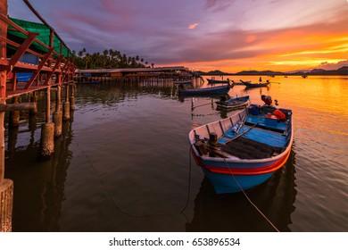Fishing Boats and Fisherman's Way of Life Thailand
