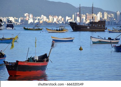 Fishing boats in front of itapema city in Brazil