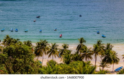 Fishing boats gather on Maracas Bay