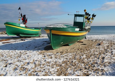 Fishing boats in Gdynia-Orlowo Poland.