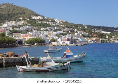 fishing boats in the harbor of Agia Marina on Leros island, Greece
