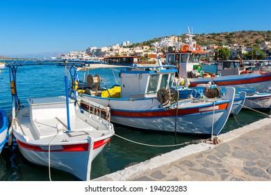 Fishing boats in the harbor of Elounda. Crete, Greece, Europe