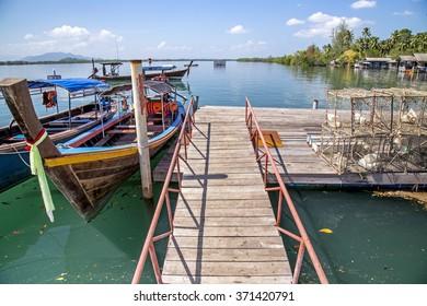 Fishing Boats in the Harbor, krabi, Thailand